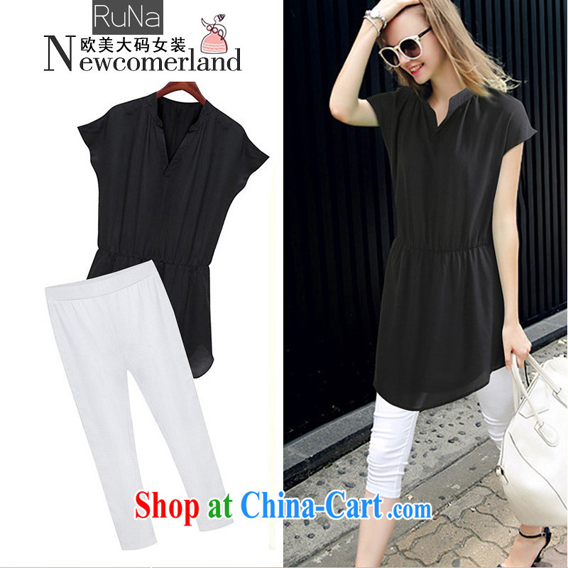 2015 RN in Europe and America, new larger female summer V collar short-sleeved snow woven shirts 7 pants thick mm package, black white XXXXXL - 175 - 200 jack