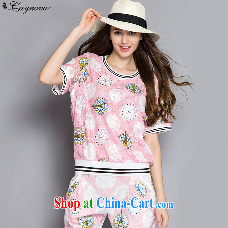 Caynova 2015 summer new, larger female thick MM lace stamp short sleeve shirt T female Q 5008 pink package XXXXXL for 200 - 210 jack