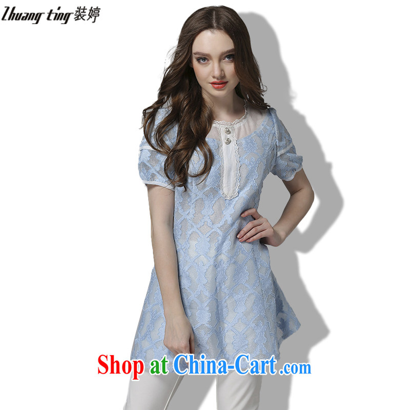 The Ting zhuangting fat people graphics thin summer 2015 the Code women's clothing high-end European and American plus obesity sister lace short-sleeved dresses 2032 light blue 5 XL