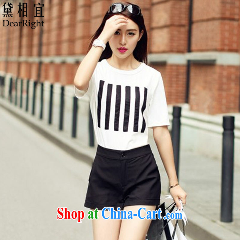 Diane affordable 2015 summer is the XL female thick mm thick sister graphics thin shorts summer leisure package _white T-shirt + black shorts_ picture color XXL _145 - 160 _ jack