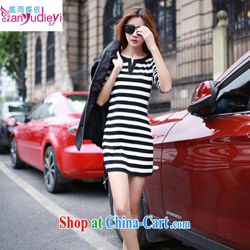 Spring 2015 new women who are decorated in stylish bar long, with solid shirt YBZJ 1332 black-and-white striped XL