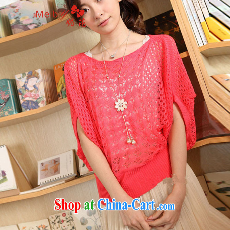 The Code female 100 ground summer 2015 Openwork knit-female Korean bat sleeves knitted T-shirt large code sweater Openwork hood T-shirt 3030 West red are code