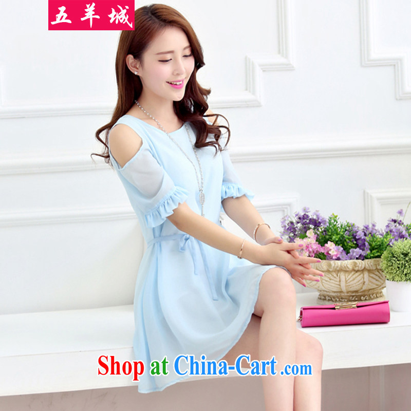 Five Rams City larger dresses DM summer chubby people graphics thin, cultivating skirt thick sister Summer Lounge 100 new Snow, woven dresses 360 blue 5 XL