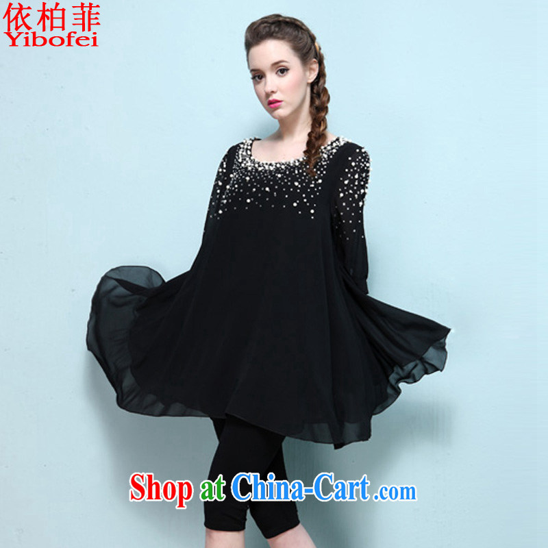 According to perfect in Europe and America 2015 new larger female thick MM stylish wood drill loose video thin ice woven dresses Y 2213 black XXXL