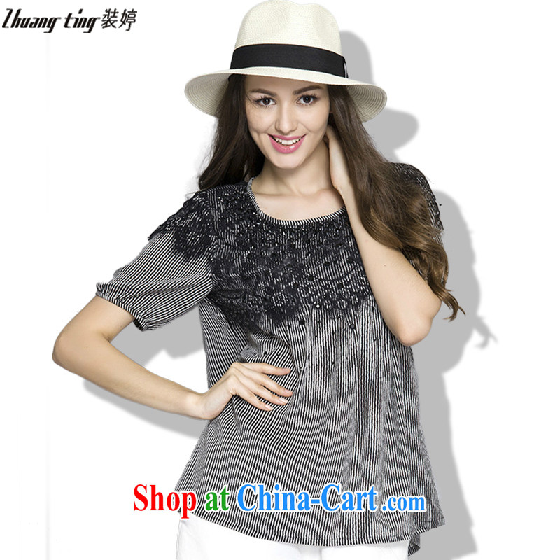 Replace-ting zhuangting fat people graphics thin summer 2015 the Code women with high-end European and American plus obesity and sister short-sleeved lace shirt 1025 black 4XL