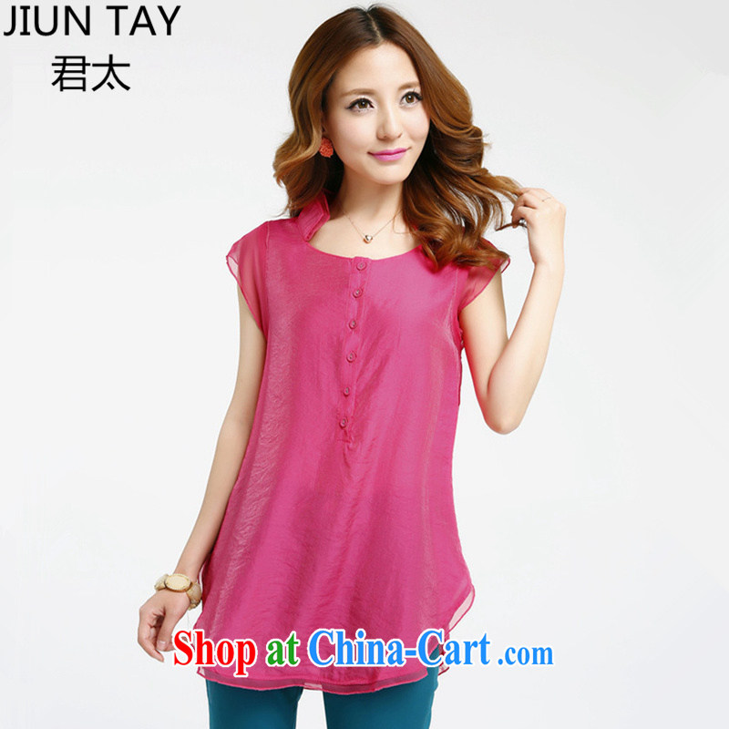Jun is too 2015 summer is the girl with loose snow woven shirts new casual women with solid T-shirt short-sleeved T-shirt T shirt graphics thin solid color party collar embroidered rose red XXXL