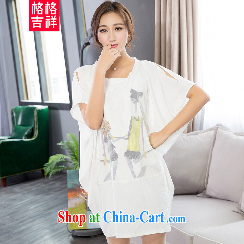 Good luck cracking the Code women 2015 summer new thick MM graphics thin fat people and fat and very casual bat sleeves package and dresses X 5122 white 3XL