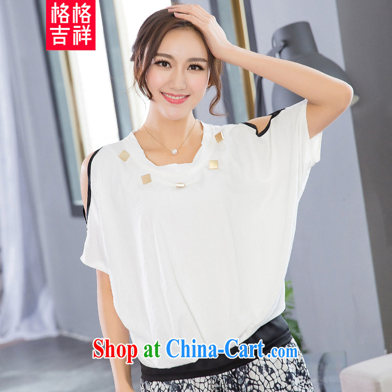 Huan Zhu Ge Ge Ge larger female thick MM Sau San 2015 spring and summer new Korean version the fat and loose video thin casual terrace shoulder T-shirt T shirt 5126 white 4XL