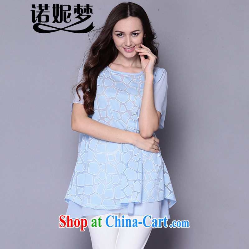 The Connie was a high-end European and American snow woven shirts female and indeed XL female 200 Jack 2015 summer new in long loose short-sleeved T-shirt girl J 1029 light blue XXXL