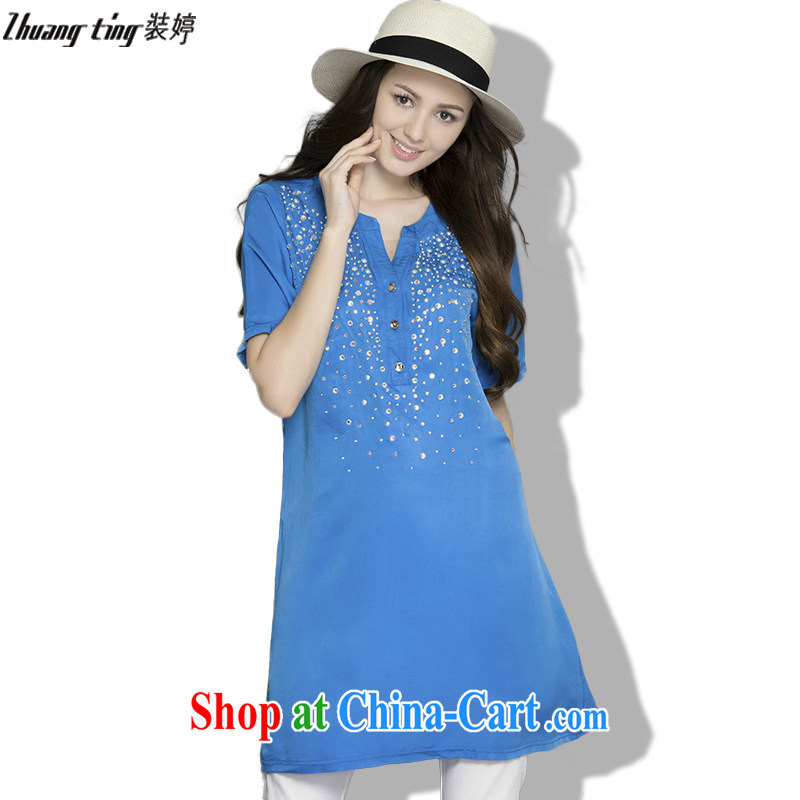 The load-ting -- thick, graphics thin 2015 summer new, high-end European and American thick mm larger female increase the fat loose short-sleeved Silk Dresses 1088 blue 5 XL