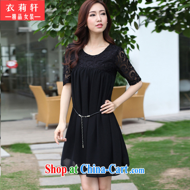Yi Li Xuan 2015 summer new thick MM the fat and pregnant women with skirt lace stitching snow woven larger dresses female black 4 XL