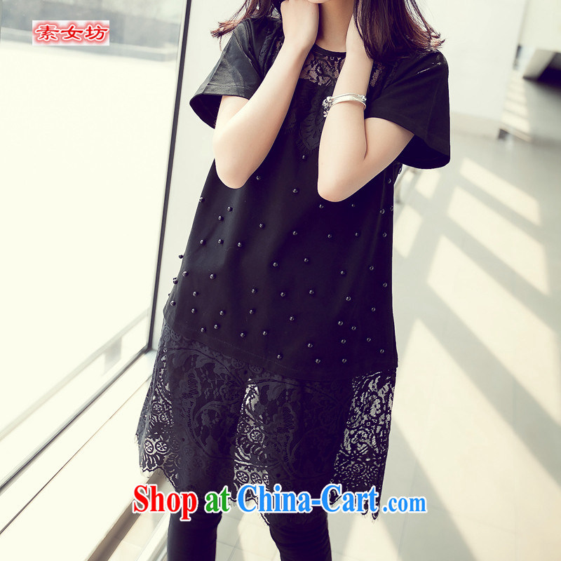 Women of the workshop, the 2015 summer new languages empty nails Pearl lace, with Korea, the Hong Kong Wind shirt female, fat, female video thin, summer 907 black 4XL recommendations 180 - 200 jack