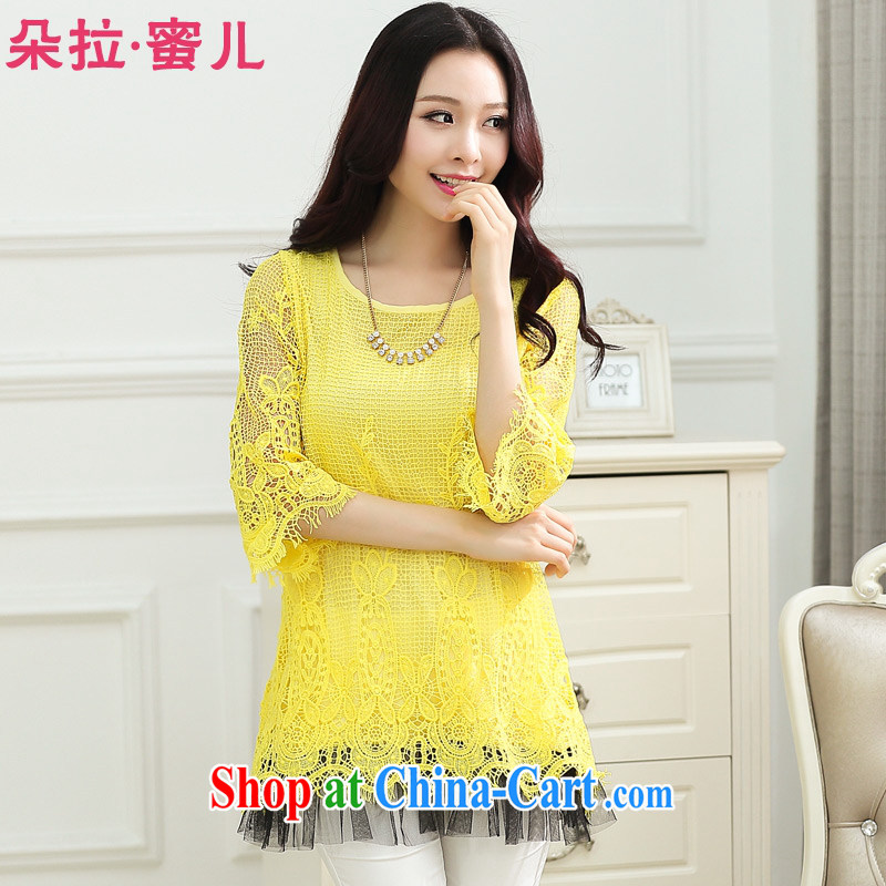 Dora, honey child 2015 summer new loose the code thick MM pregnant women with Openwork lace shirt solid dress 40361865 yellow 4 XL