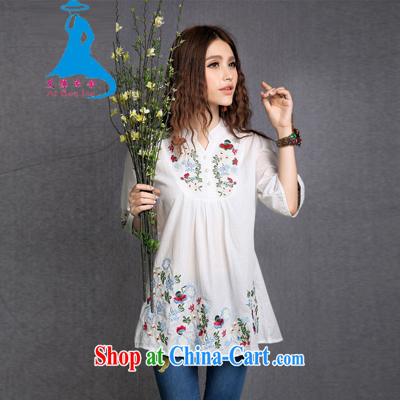 According to the garment care summer 2015 New National wind embroidery, for cotton larger female 1283 white are code