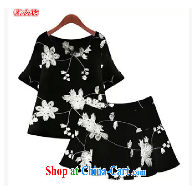 Women of 2015 workshop on the Fertilizer XL female thick mm summer shorts dresses on Europe and cultivating MM graphics thin skirts 525 black XXXXXL