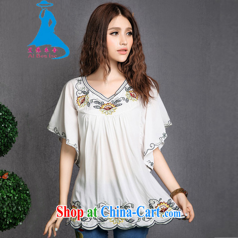 According to the garment care summer 2015 New National wind embroidery pure cotton short sleeve T-shirt large, female 1282 white