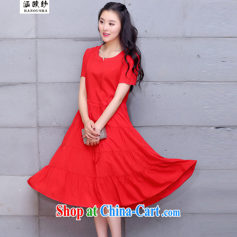 COVERED BY THE 2015 summer Korean version the code drawcord waist loose cotton dresses long, short-sleeved round-collar leisure centers in MM long skirt red XXXXL recommendations 180 - 200 jack