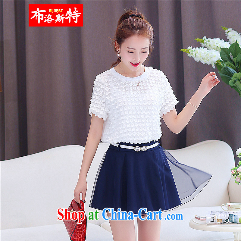 The Special Summer new Korean snow woven European root yarn skirt skirt pants two-piece with Lady with cotton Ma short-sleeve T-shirt ladies white XXL