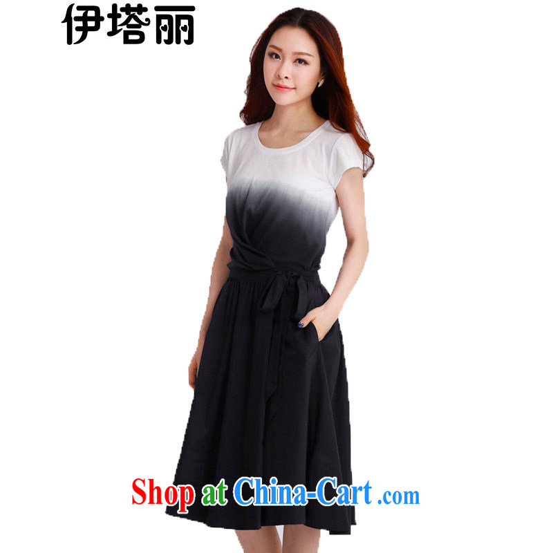 The Taliban, the Code's 2015 summer new Korean version the FAT and FAT MM thick sister beauty graphics thin tie-dye cotton gradient the short-sleeved dress black 4 XL recommendations 165 - 180 jack