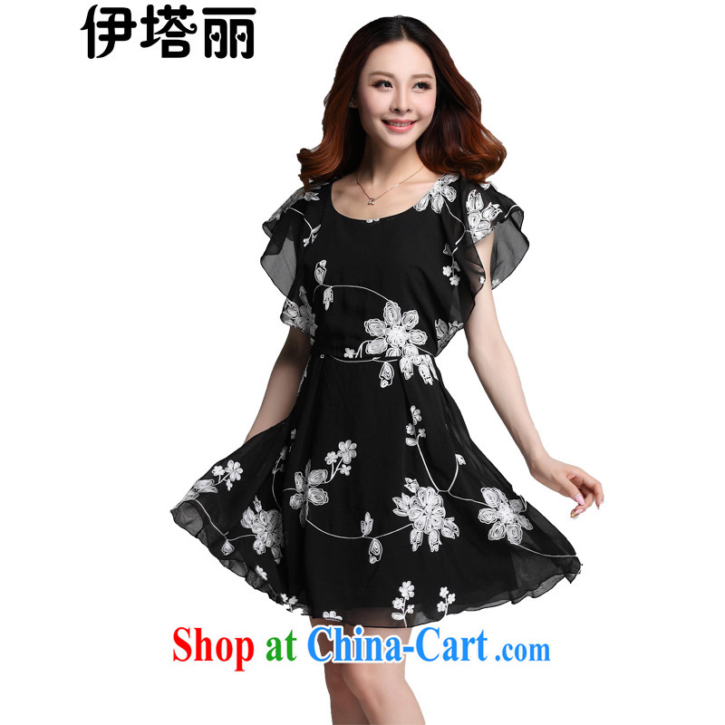The tower, summer 2015 new, larger female Korean version the FAT and FAT MM thick sister Sau San video thin embroidered fly cuff softness large short-sleeved dresses black 3 XL recommendations 150 - 165 jack