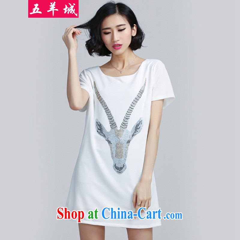 Five Rams City larger dresses summer wear thick, female video thin, Korean skirt thick sister leisure relaxed thick mm short-sleeved solid dresses 211 white 5 XL