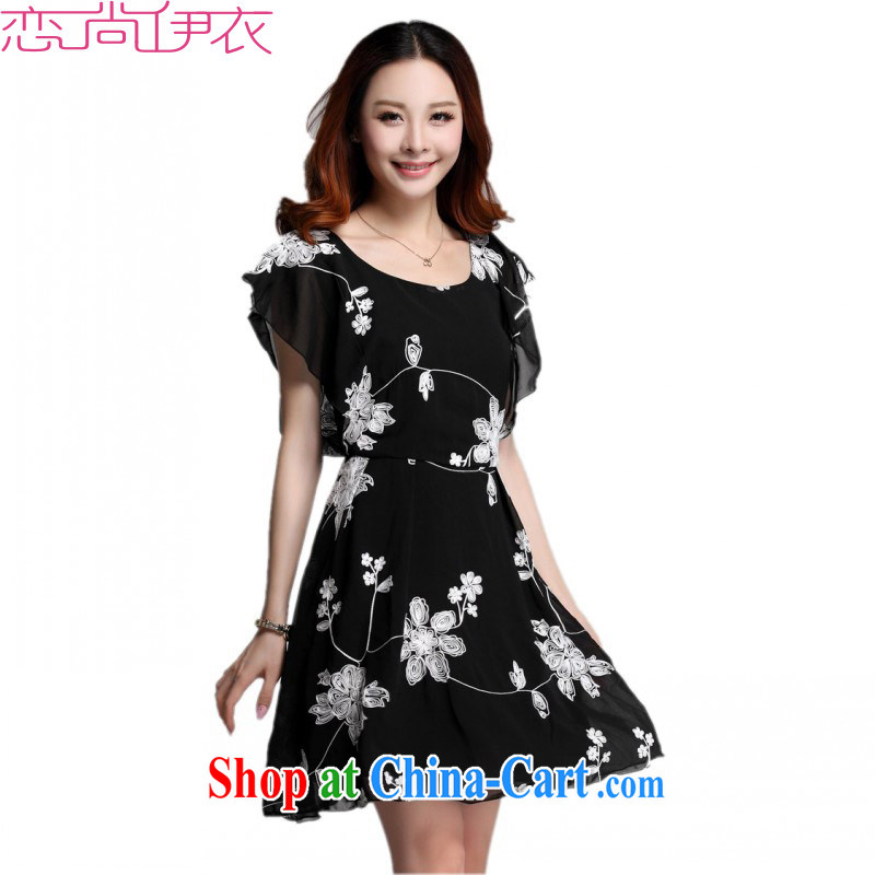 The delivery package as soon as possible by focusing on the People's Congress, snow-woven skirt 2015 new Summer Snow woven stamp flouncing cuff short skirts OL temperament suit dress black 4 XL approximately 170 - 185 jack
