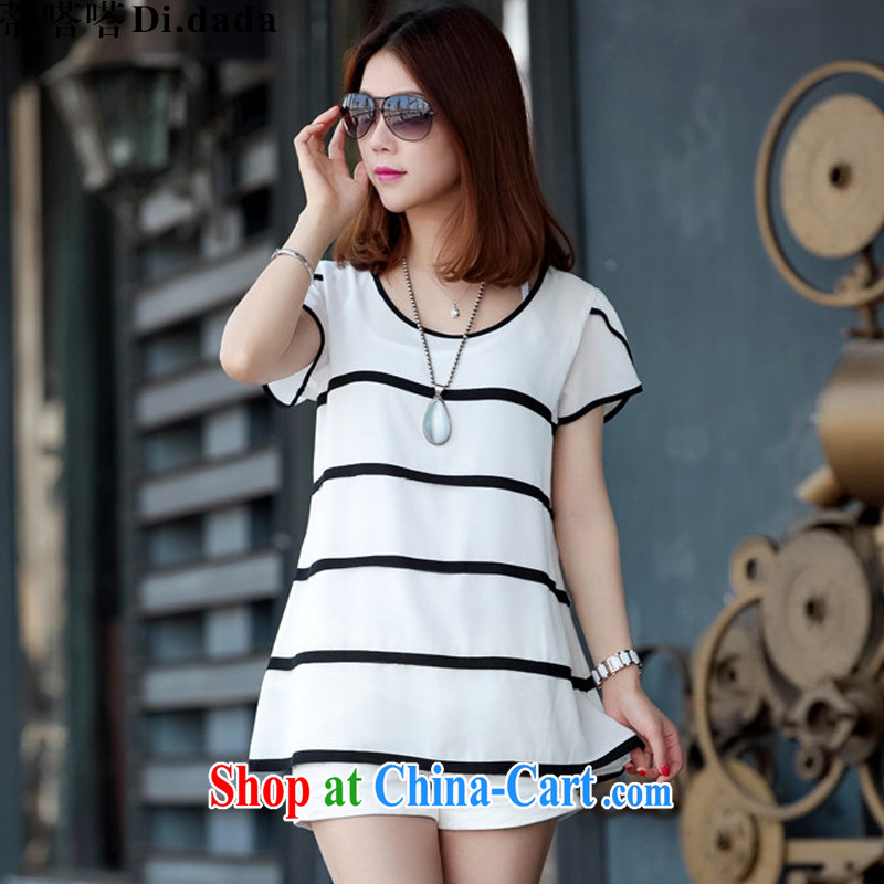 Mr. click click (Di . dada) 2015 summer new female loose the fat increase, short-sleeved shirts snow woven shirts NM 2915 white 2XL