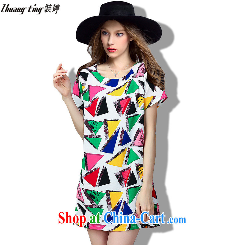 The load-ting -- thick, graphics thin 2015 summer new, high-end European and American thick mm larger female increase the fat loose short-sleeved snow woven dresses 323 photo color 5 XL