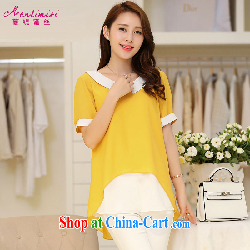 Mephidross has long honey, 200 Jack King code graphics thin women with thick mm summer long in dolls, for thick sister does not rule snow woven shirt short-sleeved T-shirt 1683 yellow large code XXL 145 about Jack