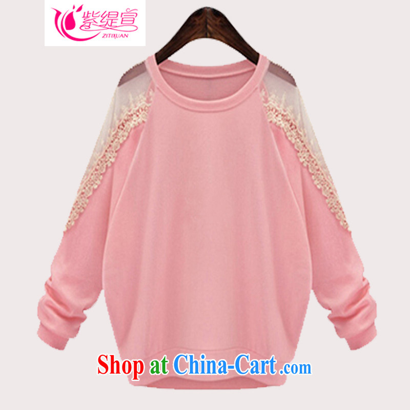 First economy 2015 declared the United States and Europe, female spring new thick mm sweet loose solid knitting T-shirt long-sleeved T-shirt lace T-shirt C 1511/pink 5 XL 180 - 200 Jack left and right