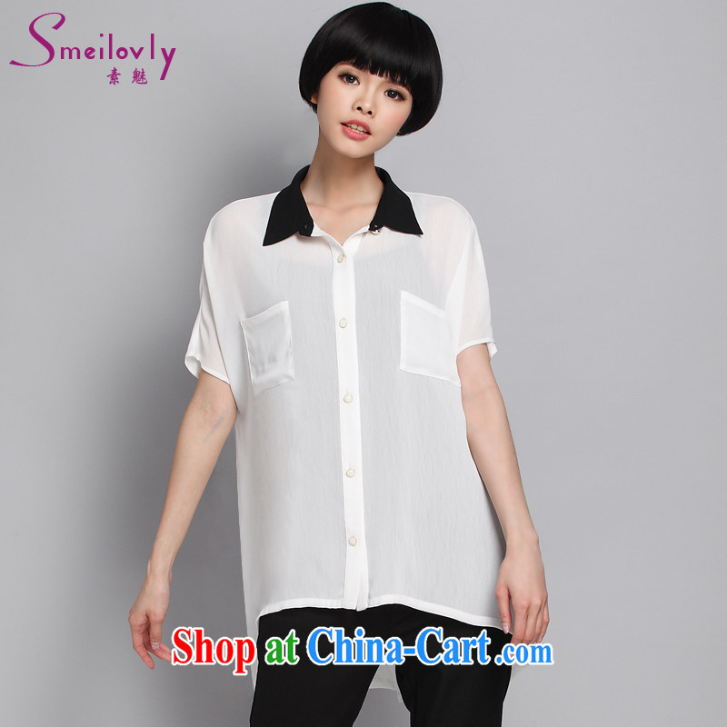 Of 200 Of The jack is indeed increasing, female fat mm summer long, turn the collar short-sleeved snow woven white shirt the shirt loose 1356 large white code 5 XL 200 Jack left and right