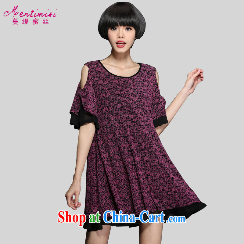 Mephidross economy honey, and indeed increase, female summer wear new 2015 thick sister 100 Ground Sense of collision color your shoulders relaxed the code-yi skirt 2873 purple large code 5 200 XL about Jack