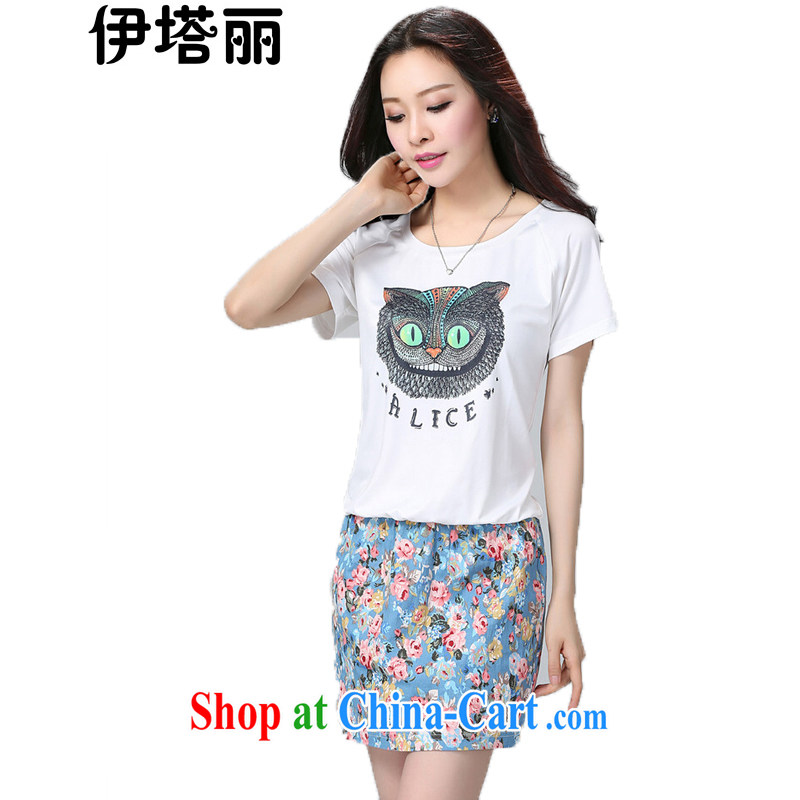 The Lai 2015 summer new, larger female fat people dress graphics thin, the FAT and FAT mm fancy thick sister graphics thin beauty short-sleeved dresses white XXL recommendations 130 - 150 jack