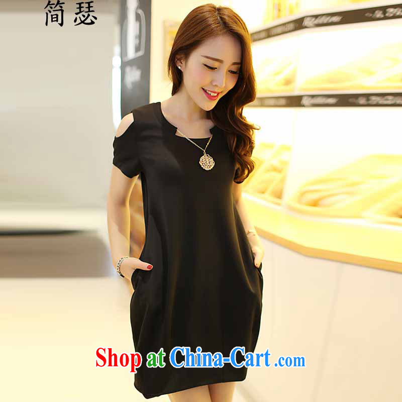 In 2015 Arthur's new summer, mm thick and fat increases, female Korean version of the new graphics thin beauty thick sister short-sleeved dresses black XXXL