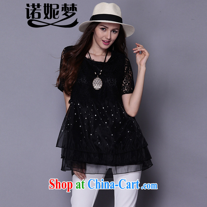 Connie's dream European and American high-end lace stitching loose short-sleeved T-shirt girls and indeed XL female 200 Jack summer 2015 new long T-shirt J 669 black XXXXXL