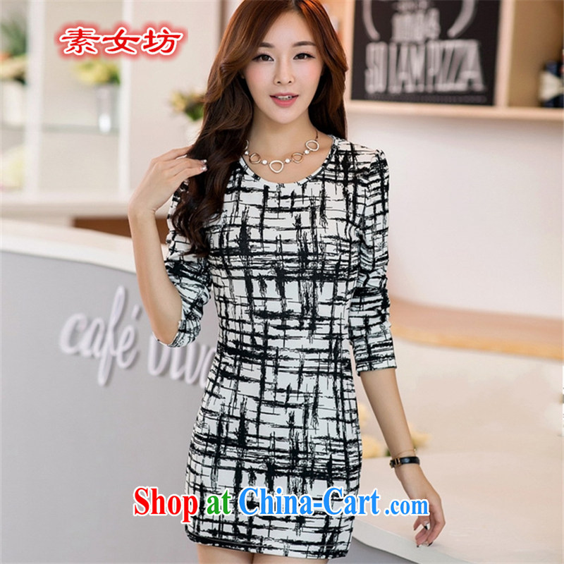 Women of 2015 workshop on the FAT increase, female new spring loaded long-sleeved dress mm thick Korean video thin ice woven solid skirt 696 photo color 4 XL 190 - 230 jack