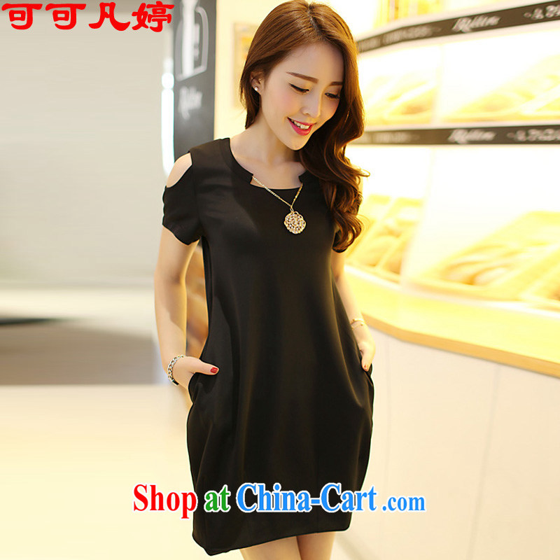 Cocoa where Ting 2015 summer new Korean version the Code women mm thick graphics thin bare shoulders dresses women 7523 Black _the necklace_ 3 XL