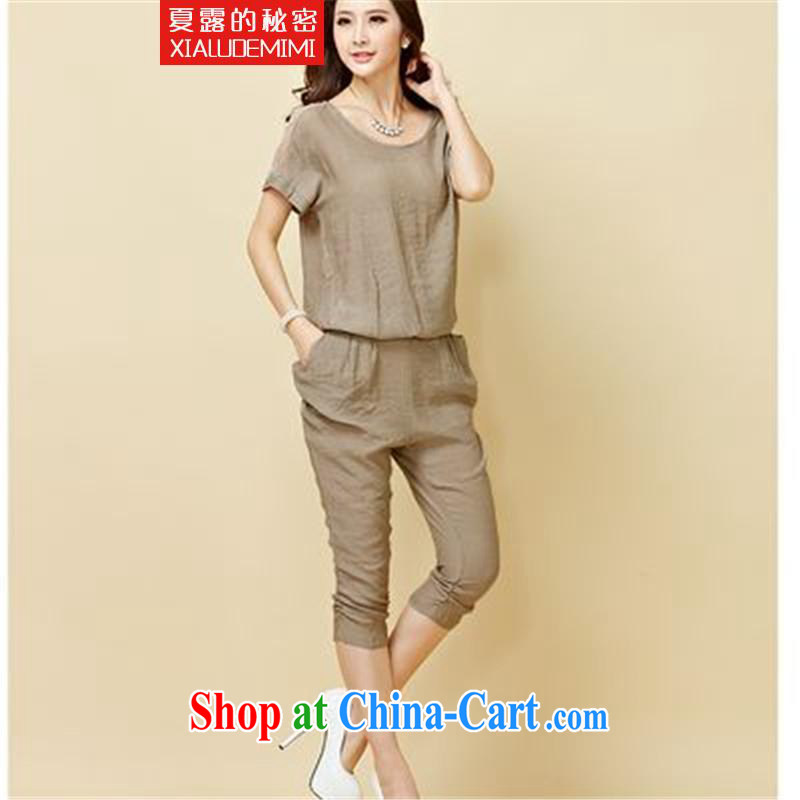 Summer terrace of the secret 2015 summer load the Code women stylish cotton the snow-woven shirts, T-shirts, trousers two piece set with fresh green XXL