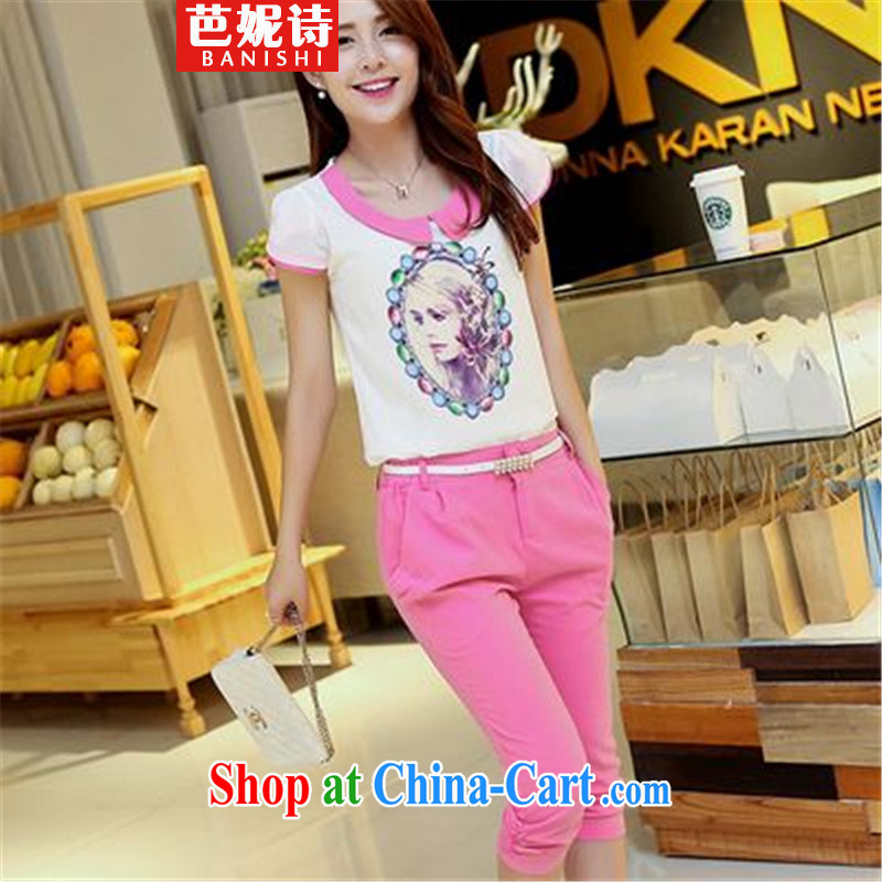 Hip Hop poetry Anne 2015 summer new Snow woven T-shirt stamp snow woven shirts 7 pants Kit two kits of red L