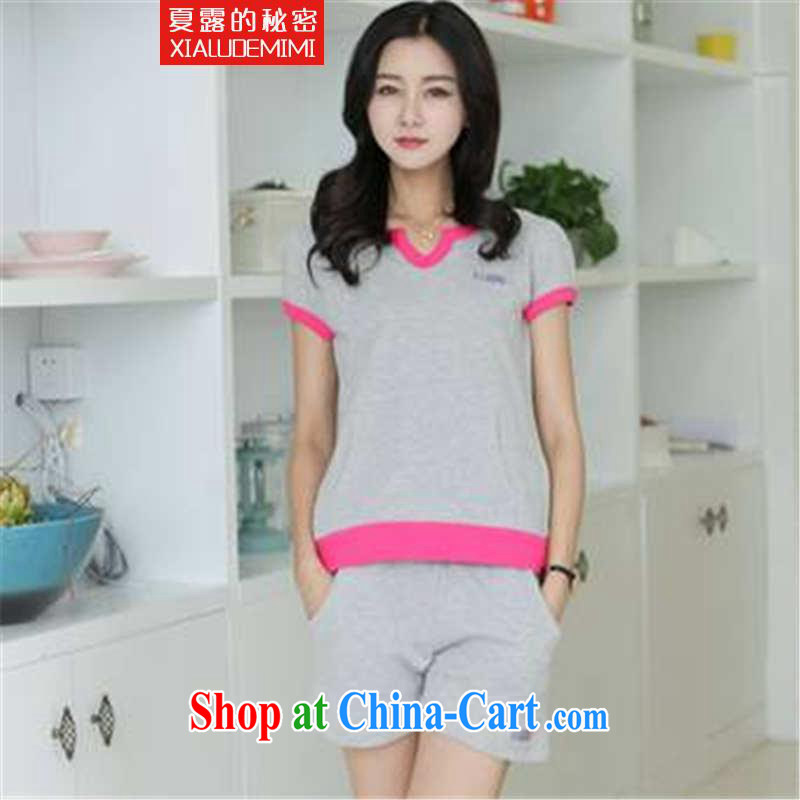 Summer terrace of the secret 2015 Korean version of the greater code short-sleeved Sport Kits WOMEN's SHORTS set the gray XL