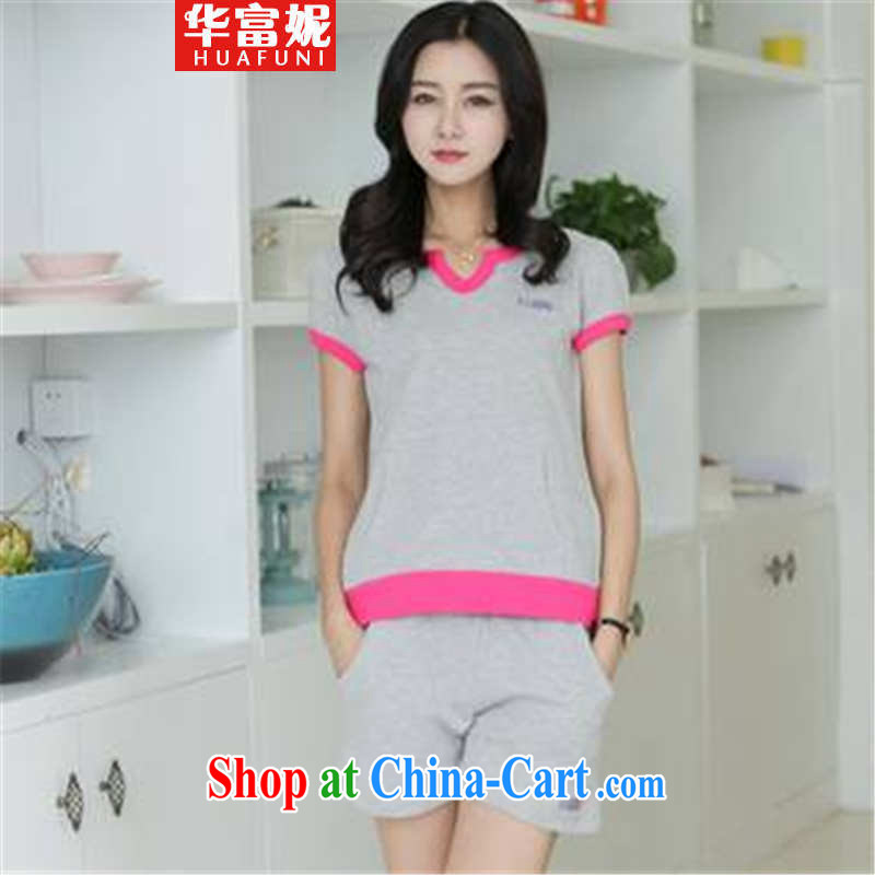 Wah Fu Connie 2015 Korean version of the greater code short-sleeved Sport Kits WOMEN's SHORTS set the gray M
