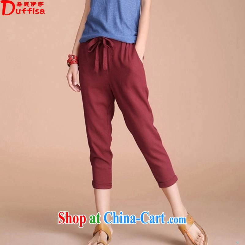 flower girl Isabelle 2015 Korean version of the new Leisure, Trouser Press thick MM and indeed increase code 200 jack cotton the pants female D 1734 wine red 5 XL