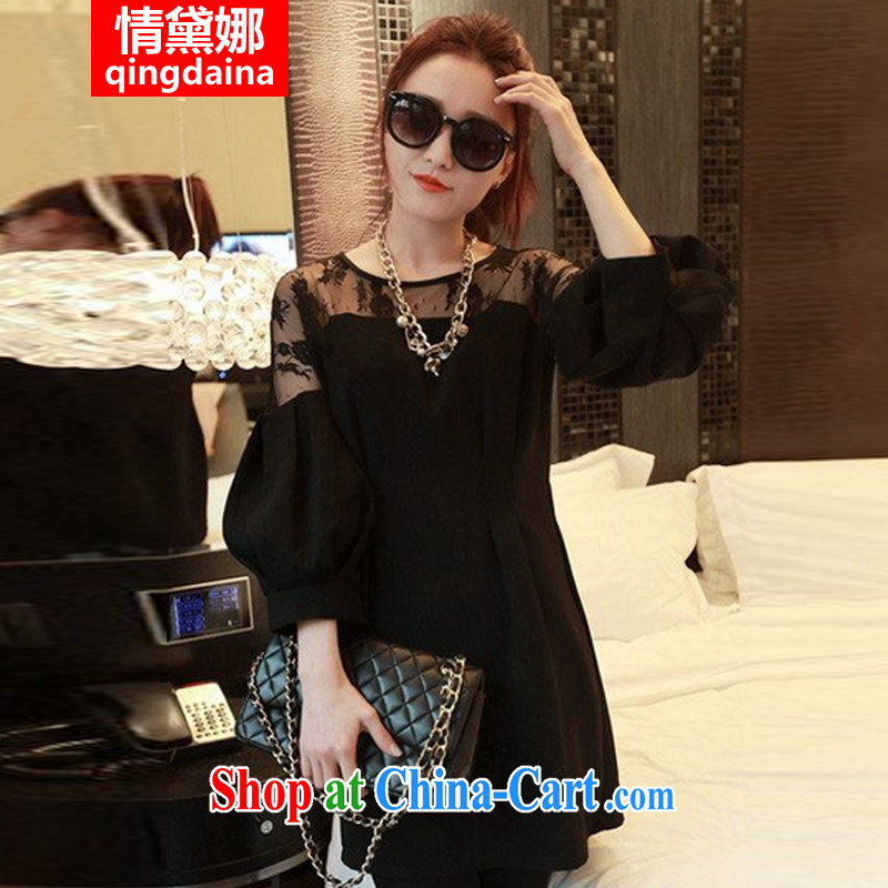 Love, Diana 2015 spring new Europe XL female thick MM loose video thin summer the fat lace shirt dress shirt Solid Solid Solid Black 5 XL