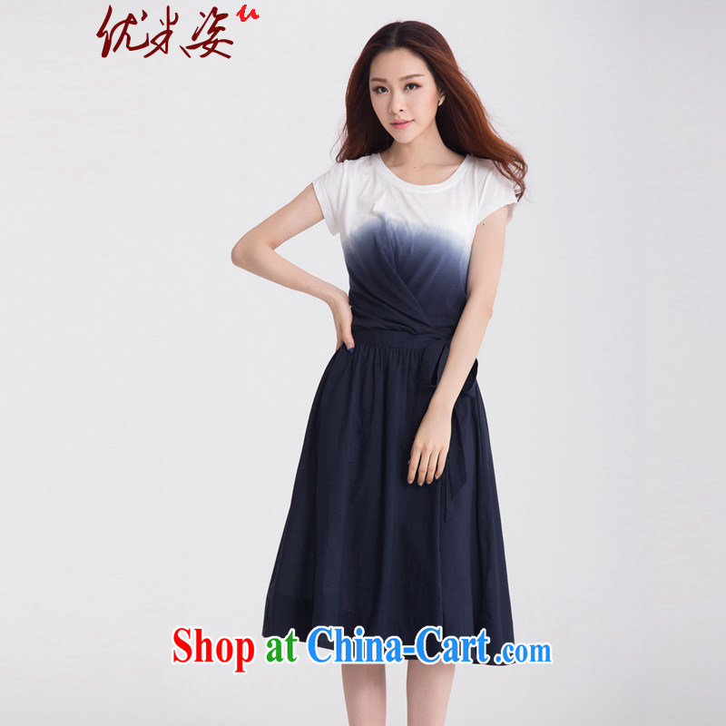 Optimize m Beauty Package Mail Delivery 2015 summer tie-dye cotton gradient the double-yi loose the skirt with his hand, adjust belt video thin dresses larger XL to 4 X blue 4 XL