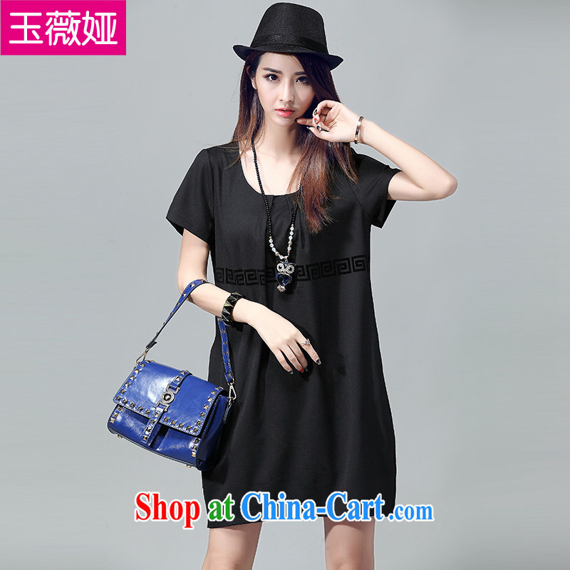Yu Wei 2015 Julia larger female summer flocking stamp antique dresses simple and relaxed round-collar short-sleeve T-shirt girl Y 2053 black 4XL (recommendations 160 - 180 jack)