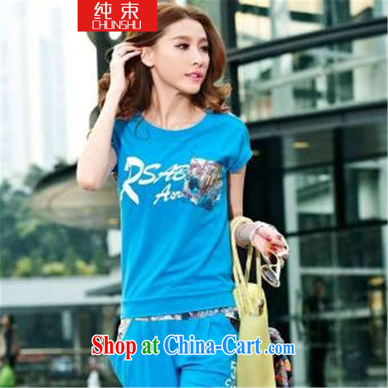 Pure beam 2015 Korean female sweater Kit short-sleeved 7 pants sport and leisure package women's clothing summer blue XL