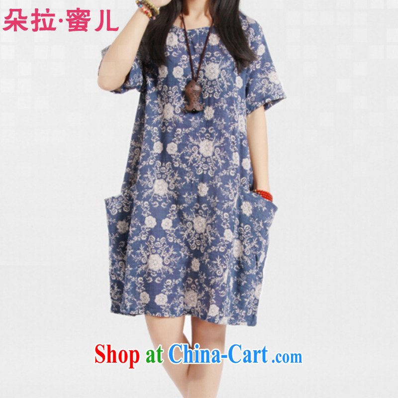 Dora, honey child 2015 summer new loose the Code women stamp art van fresh cotton Ma dress 20408107 blue XXL