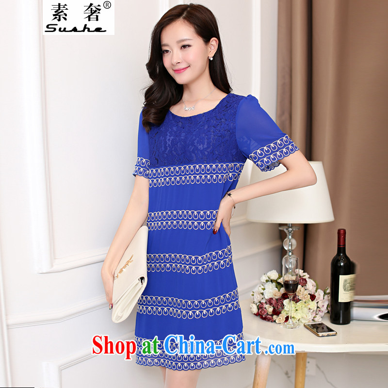 luxury of 2015 XL female loose video thin Korean thick MM summer short-sleeved dresses snow woven spell lace dresses girls royal blue 4 XL weight 160 - 175