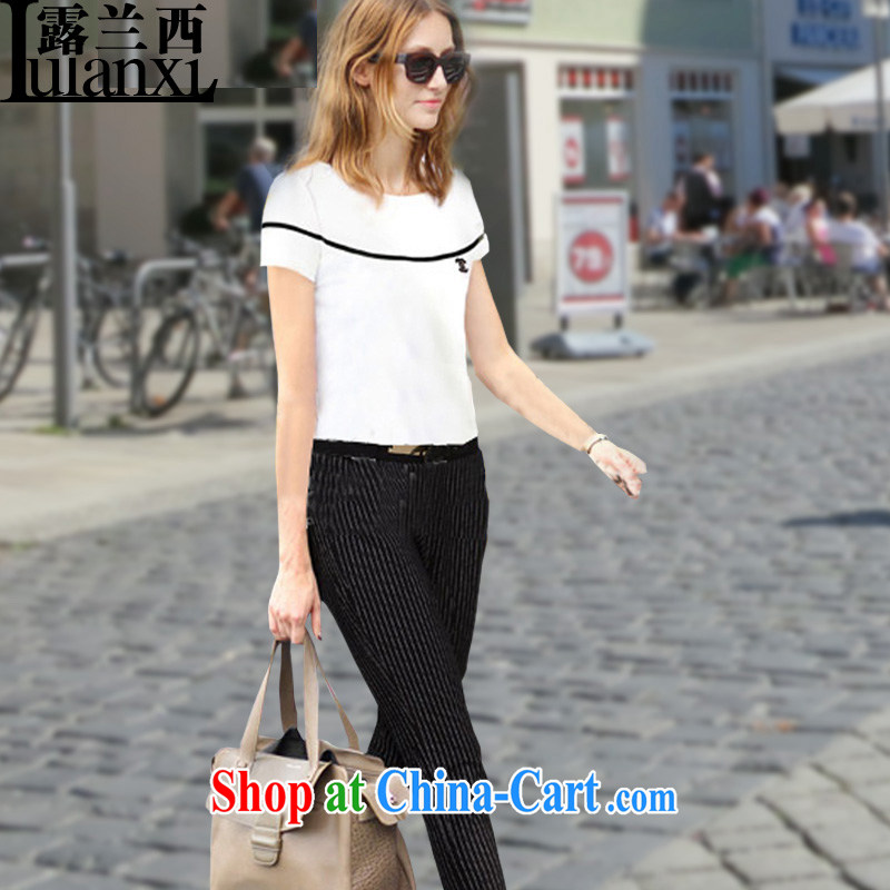 Terrace, Western Europe and the United States, the female loose cotton short-sleeved T shirts, T-shirts solid spring and summer new white 3 XL 150 - 165 Jack left and right