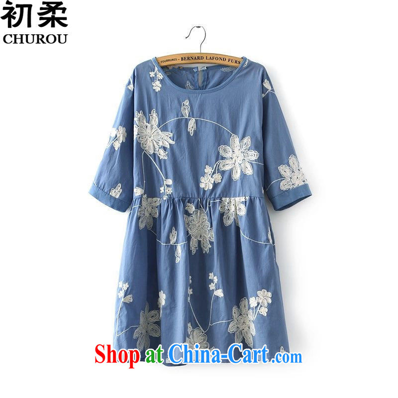 Flexible early 2015 the fertilizer XL women mm thick summer wear new, flexible graphics thin embroidery embroidered Dolls with relaxed dress 200 jack can be seen wearing a blue xxxxxL